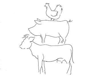 Minimal Farm Animal Ink Outline