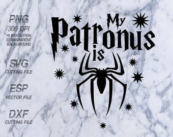 My Patronus is Spiderman Harry Potter Quote ,SVG,Clipart,esp,dxf,png 300 dpi