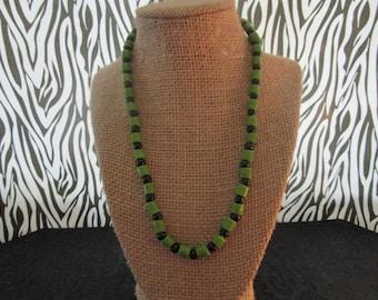Olive Green & Black Necklace