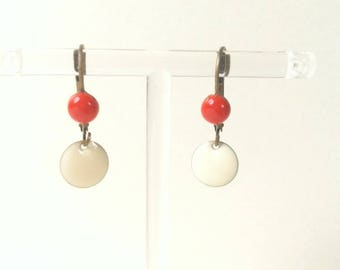 small Stud Earrings red coral and ivory