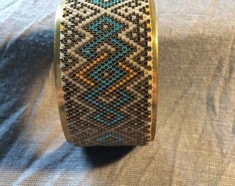 Peyote Cuff Bracelet * Beige * Turquoise * Orange