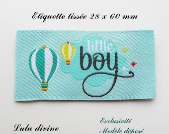 Woven label - little boy - 28 x 60 mm, blue balloon