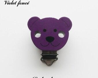 Clip / bow, wooden pacifier Clip, Teddy bear: dark purple
