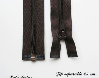 Separable zipper simple 1 45 cm: Brown