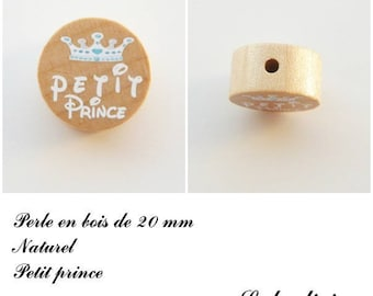 20 mm wooden bead, Pearl flat, little prince: natural