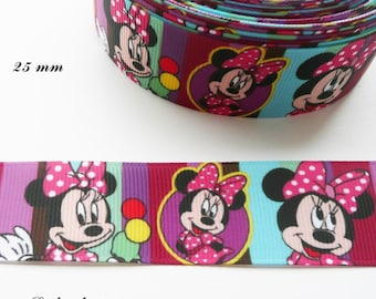 Ribbon grosgrain striped background Minnie eating ice cream 3 balls of 25 mm by 50 cm