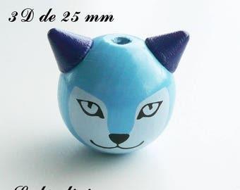 25 mm wooden bead, Pearl 3D Fox head: Blue