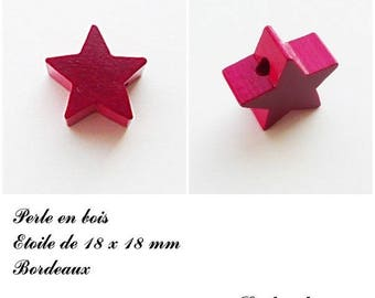 18 x 18 mm wooden bead, bead flat Star: Bordeaux