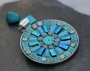 Round glass mosaic and millefiori, turquoise pendant