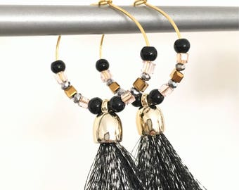 Elegant hoops & tassel pendants! These unusual earrings earrings fancy Bohemian style