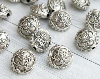 "Victorian beads, Antique Silver Beads, Renaissance Beads, 0.6"" Beads"