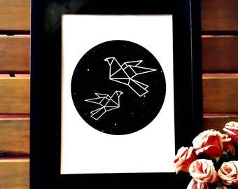 Minimalist printable art, minimalist wall art, wall decor, geometric bird design, geometric black and white poster, printable art, simple