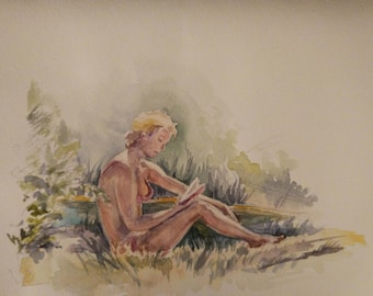 The girl on the beach, watercolor, Girl with a book, gorgeous lady, nature.