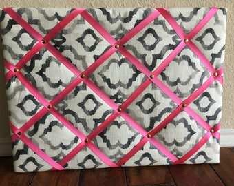 Ribbon Quilited Bulletin Board -- Monogram or Name Can be Added Free!