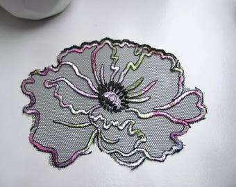 Applique tulle sewing 120 x 85 black/multicolor flowers