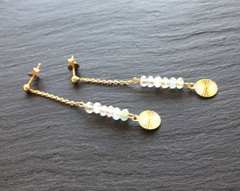long earrings pastel stones fines