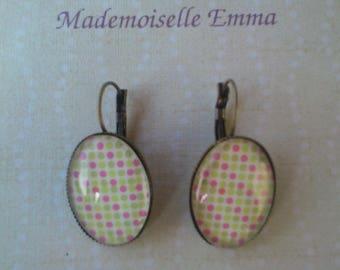 Earrings sleepers bronze metal and cabochons