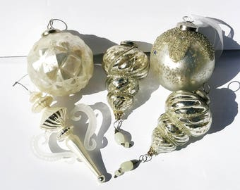 Set of 5 Large Silver Glass Christmas Tree Ornaments - Christmas Tree glass ornaments decorations silver - Christmas decor
