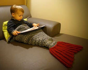 Crocheted Mermaid blanket, gray fin red