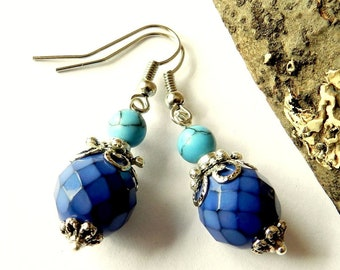 Earrings, blue, turquoise and glass beads