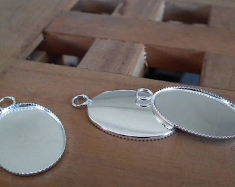 Medium silver 31x19mm♥ oval cabochon 6pc ♥