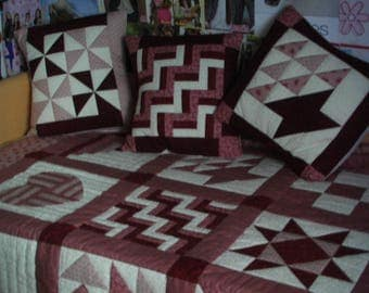 single bed patchwork quilt with matching cushions