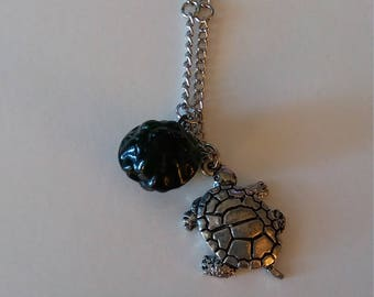 Necklace Silver Turtle Charm Green Shell