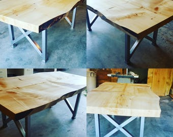 Live edge solid slab dining table