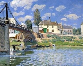 PLACEMAT ORIGINAL SEMI-RIGID AESTHETIC WASHABLE AND DURABLE. Alfred Sisley. Bridge at Villeneuve bis.