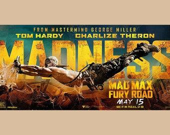 SET of VINTAGE TABLE - Cinema - Mad Max - Fury Road poster.