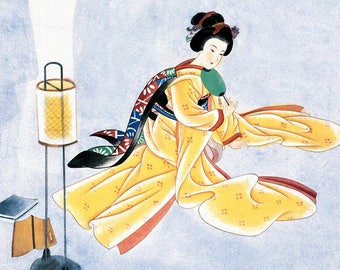 SEMI-rigid PLACEMAT, ORIGINAL, plastic, WASHABLE and durable - painting - Japanese Art 3.