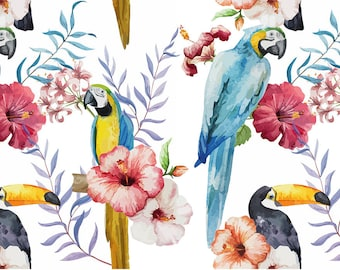 ORIGINAL design, durable and WASHABLE PLACEMAT - watercolor - flowers, parrots and toucan - classic.