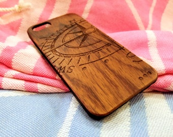 Iphone 6/6s/6+/7/7+ Custom Wood Case Laser Engraved, Compass. You can personalize your case!!