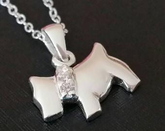 Westie Dog|Westie Jewelry|Scottie Dog|Scottie Jewellery|Terrier Necklace|Silver Dog Necklace|Terrier Dog|Silver Necklace!Scottie|CZ|Crystal