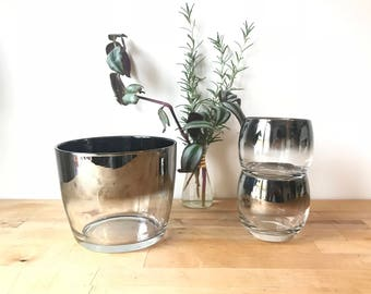 Dorothy Thorpe Mercury Fade Ice Bucket & Two Roly Poly Glasses - Mid-Century