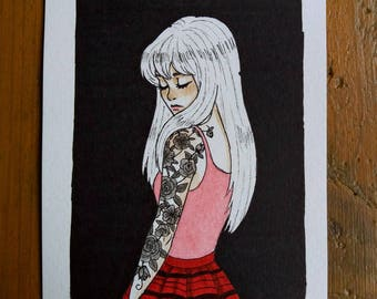 Drawing Original - woman with tattoos A6 Format