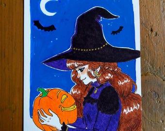 Original drawing - Witch pumpkin A6 Format