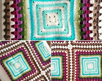 Hand made crochet blanket 2.00 x 1.20 m.