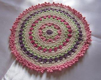 Colorful doily crochet mandala way