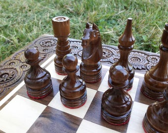 Wooden Chess Set, Chess Board, Chess Pieces, Handmade wood chess, Husband gift, Chess set, Carved chess, Chess Pieces Wood, Ivory Chess, Bac