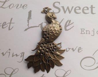 Bronze pendant Peacock charm 7 x 4, 2cm