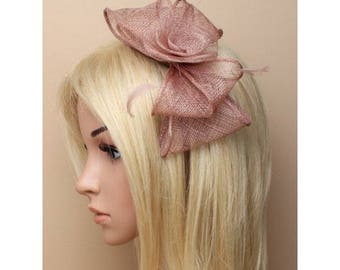 Mocha looped and feather fascinator on a narrow aliceband Ideal for special occasions such as weddings and Ladies races.
