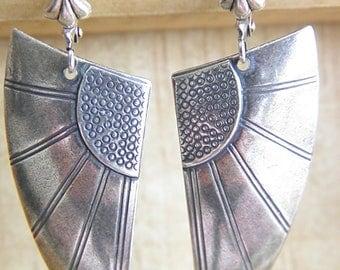 Long dangle earrings Angel Wings Art Deco prints silver-plated jewelry vintage