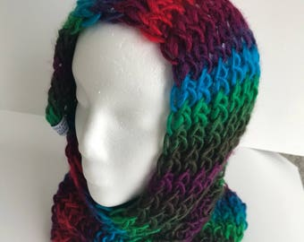 Handmade Knitted Hooded Scarf Item #4012A
