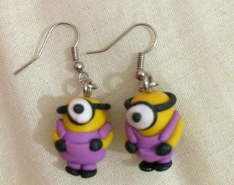 Minion overalls earrings violet