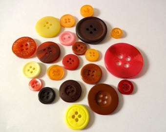 20 buttons - orange, red, yellow, Brown - couture - scrapbooking