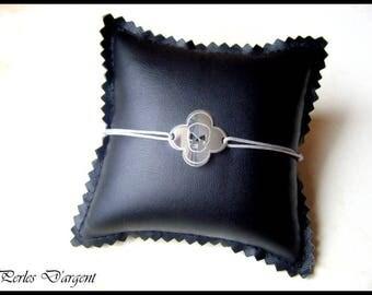 Bracelet trèfle tete de mort en argent 925