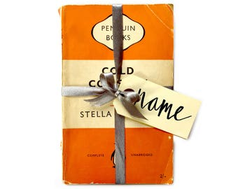 Vintage Book Wedding Favours Bespoke Custom Wrapped Handwritten Orange Penguin Books Place Settings Bridal Party Thank You Gift