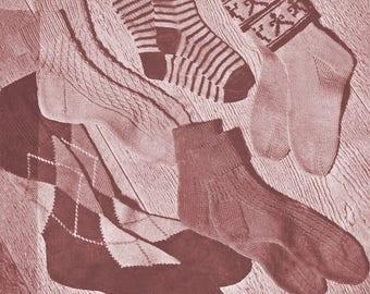 Set of  23 Socks Pattern for Childrens ,Womens, Mens /Vintage 40s/Socks Pattern / Instant   Download PDF Knitting Pattern – 981