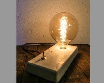 Lamp concrete style minimalist vintage filament bulb